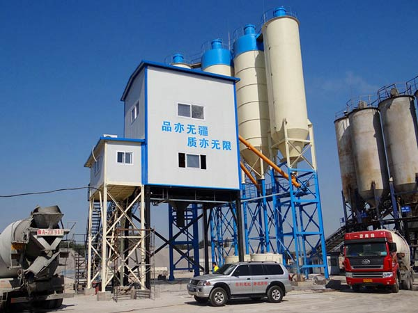 HZS120 stationary ready mix concrete batching plant